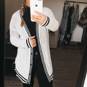 American Eagle Black & White Cotton Cardigan